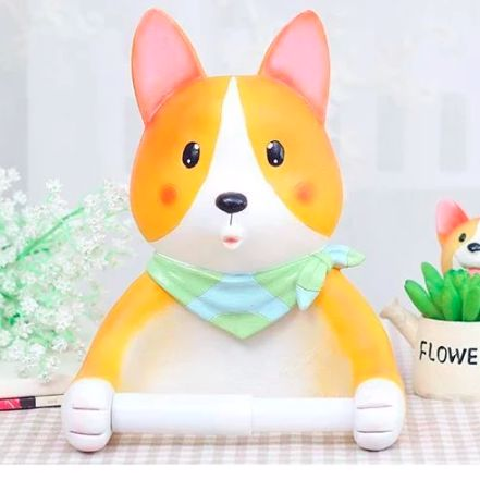 Image of a toilet roll holder in the shape of a cute Corgi with arms stretched out holding the tissue roll