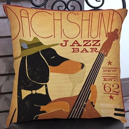 Image of a cushion cover for home decor with a Dachshund with a jazz guitar print