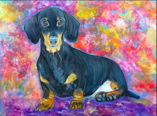 Image of an oil painting with a colorful standing Dachshund portrait
