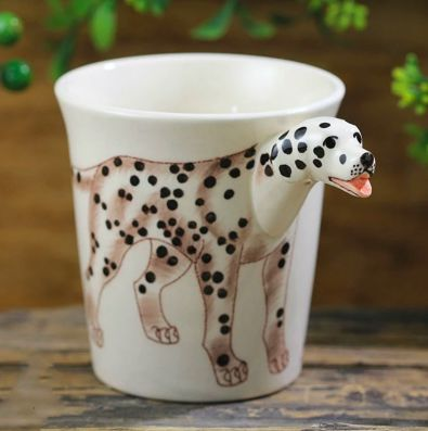 Image of a white tea / coffee cup with a unique 3D Dalmatian design