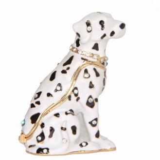 Image of a small jewellery box which can store rings, earrings, necklaces and bracelet in the shape of a Dalmatian dog
