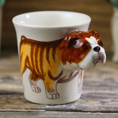 Photo of a cup with a 3d english bulldog design