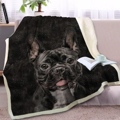 Image of a blanket lying on a cough with a black French Bulldog design print