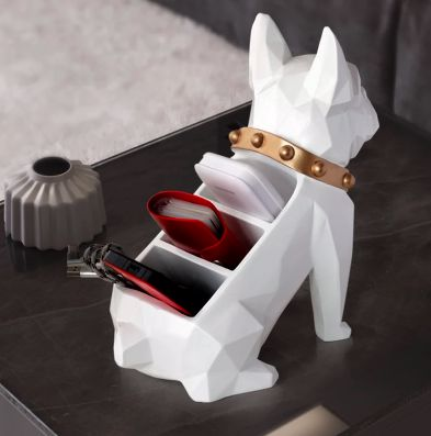 Image of a table top organiser home decor ornament in the shape of a white french bulldog back view