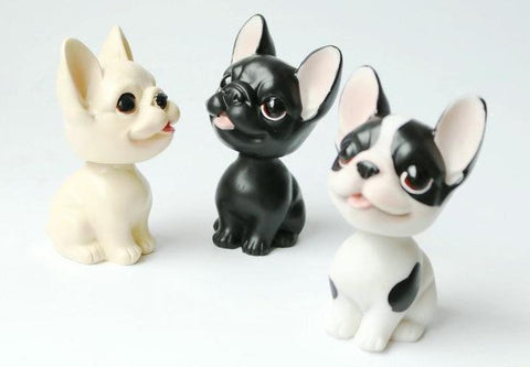 Image of three French Bulldog themed bobbleheads