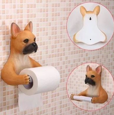 Image of a toilet roll holder in the shape of a brown French Bulldog with arms stretched out holding a Tissue paper roll