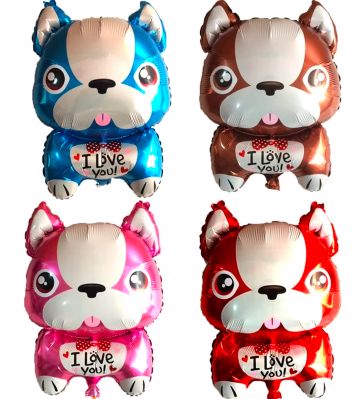 Image of four helium balloons in the shape of French Bulldogs in four colors - Blue, brown, pink and red