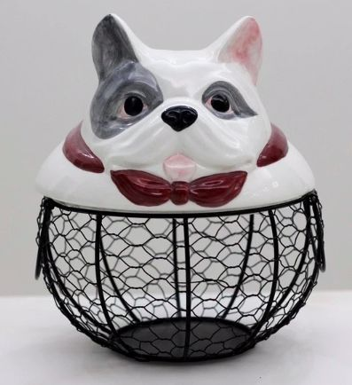 Image of a kitchen wire fruit egg bread basket with a cute French Bulldog cover
