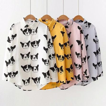 Image of four shirts side by side in four colors - white, Yellow, Pink and Purple with an infinite French Bulldog print