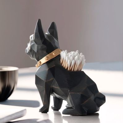 Image of a French Bulldog table top home decor ornament which is also a pen pencil holder in black, back view