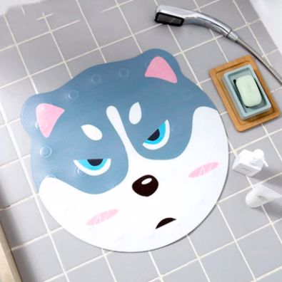Image of a bathroom mat in the shower in the shape of a cute frowning Siberian Husky face