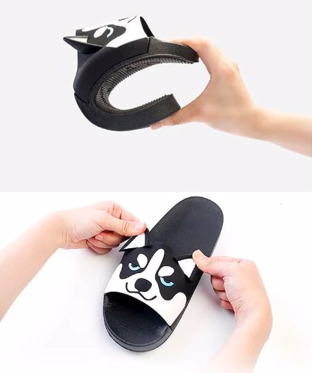 Two images one below the others, the first of a person bending a Husky slipper and the second of the person holding up the ears of the Husky slippers