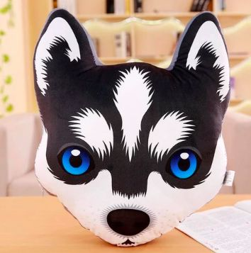 Image of a stuffed cushion pillow in the shape of a cute Husky dog animal face with blue eyes