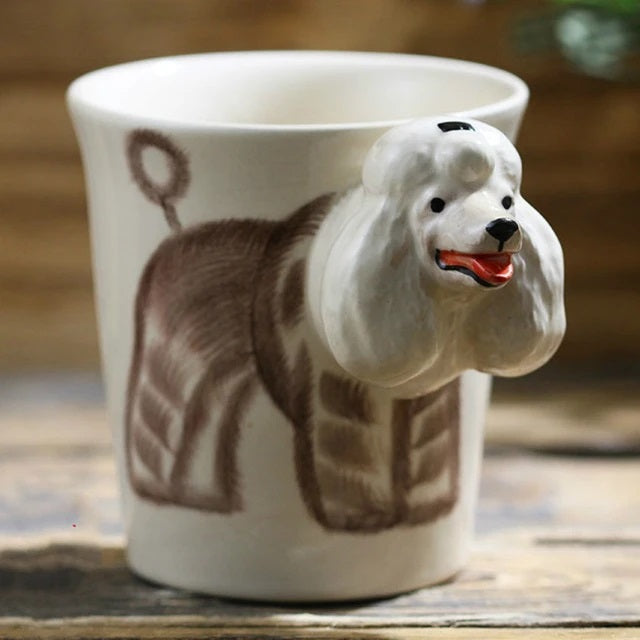 Image of a coffee mug with a unique 3D Poodle design