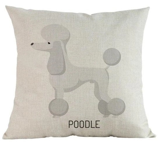 Image of a white Poodle cushion cover made of linen and cotton