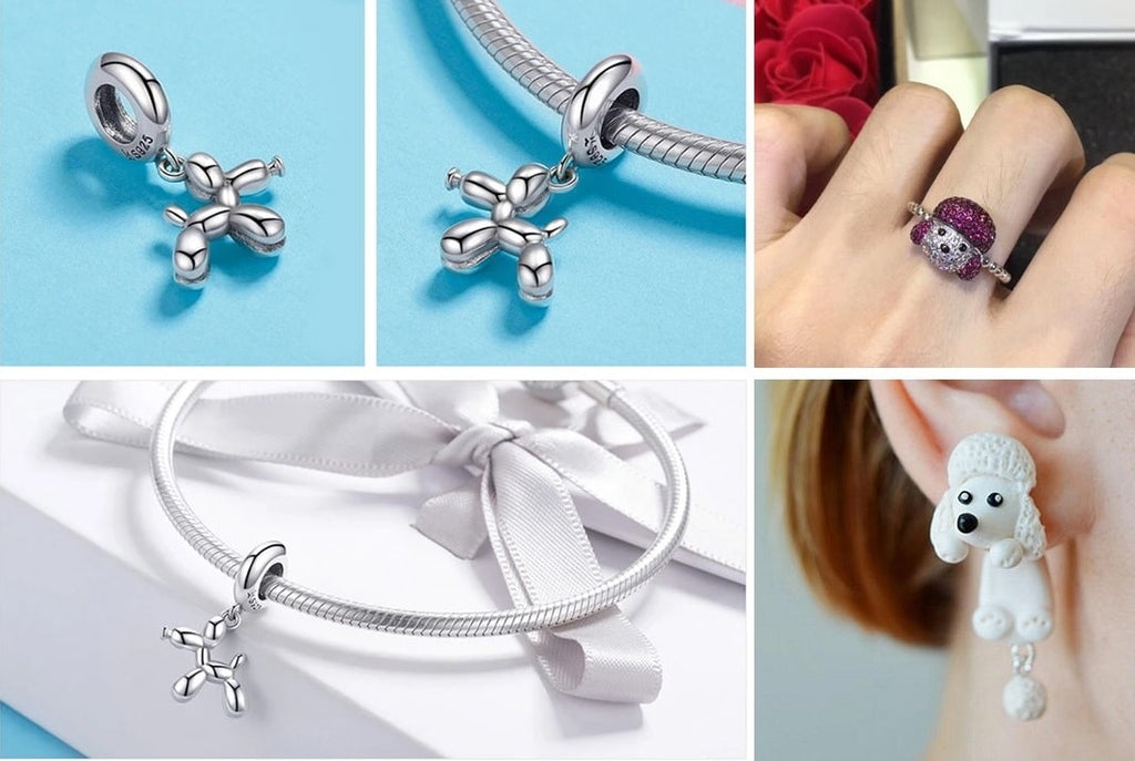 Image of the collage of Poodle themed jewellery for women including a Poodle silver pendant, a Poodle silver ring and a Poodle polymer clay earrings