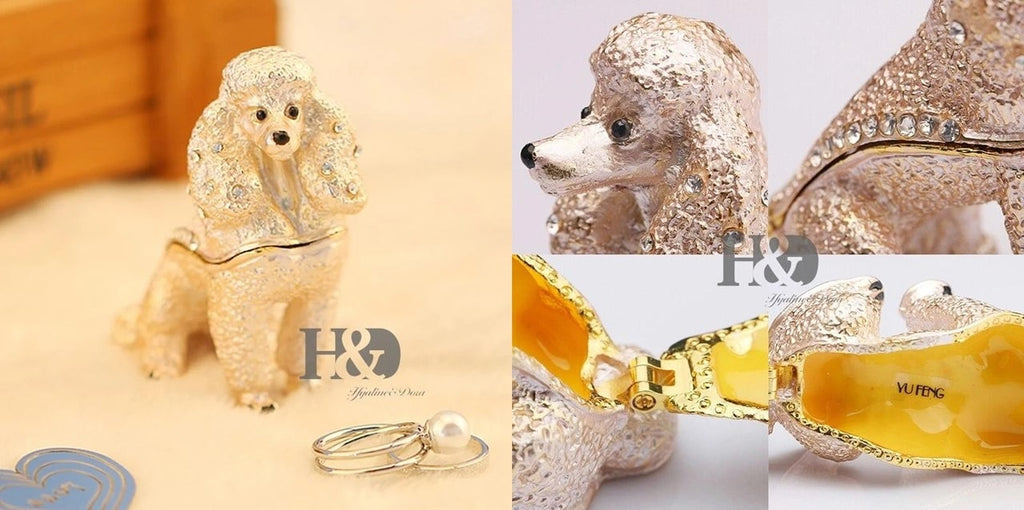 Image of a small jewellery box which can store rings, earrings, necklaces and bracelet in the shape of a Poodle dog
