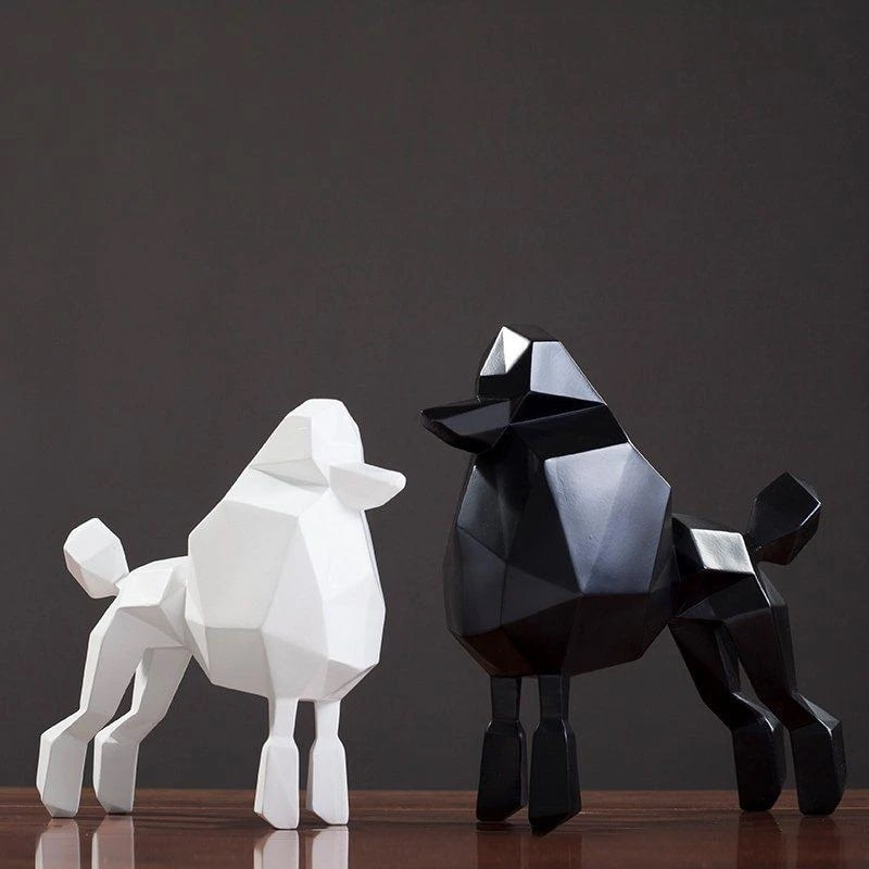 Image of a stunning abstract resin black and white Poodle statue