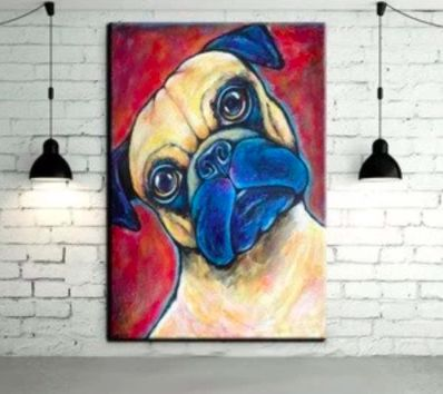 Image of an oil painting on a white wall with a cute curious Pug design