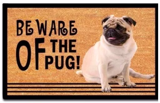 Image of an outdoor mat with a photo of a cute pug with the funny caption beware of the Pug