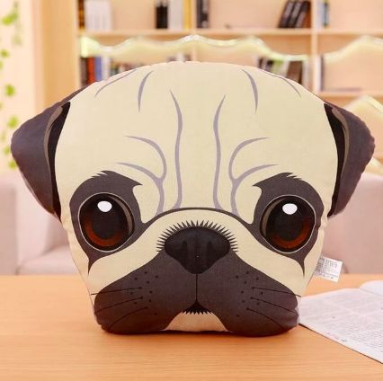 Image of a sofa cushion throw pillow in the shape of a cute Pug face