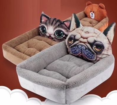 Image of three dog beds one of which has a cute 3d Pug design on top