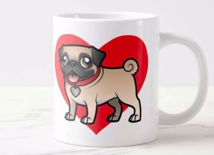 Image of a coffee mug with a cute Pug standing in front of a bright red heart design