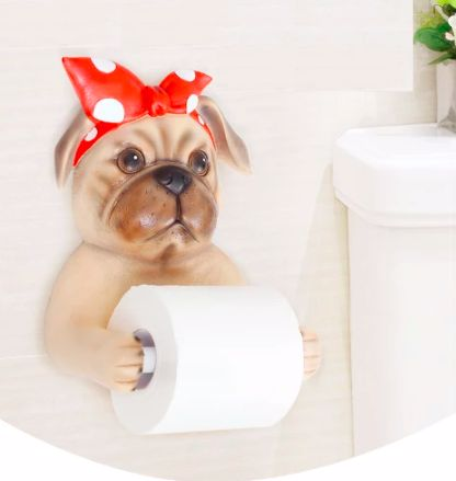 Image of a toilet roll holder in the shape of a girl pug wearing a red bandana with the arms stretched out holding the tissue paper roll