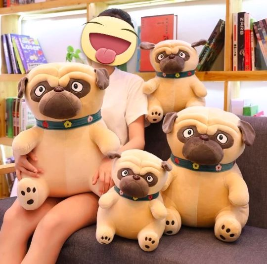Image of a girl sitting on a couch with four different size Pug shaped stuffed soft toys in different sizes from small to extra large