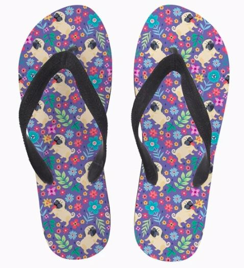Image of rubber flip flop bath slippers with a cute Pug design