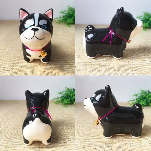 A series of four images showing a cure black Siberian husky ceramic figurine on a table in different angles