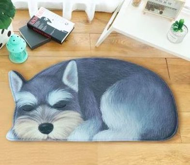 Image of a floor rug in the shape of a sleeping mini Schnauzer