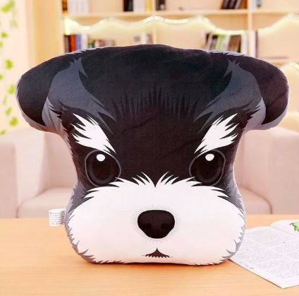 Image of a throw cushion pillow in the shape of a Schnauzer dog's face