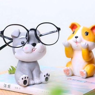 Image of Schnauzer themed glasses holder holding a pair of glasses