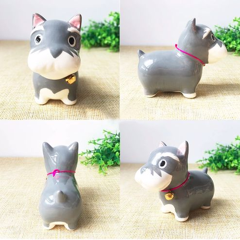 A series of images showing a ceramic Schnauzer figurine in different angles