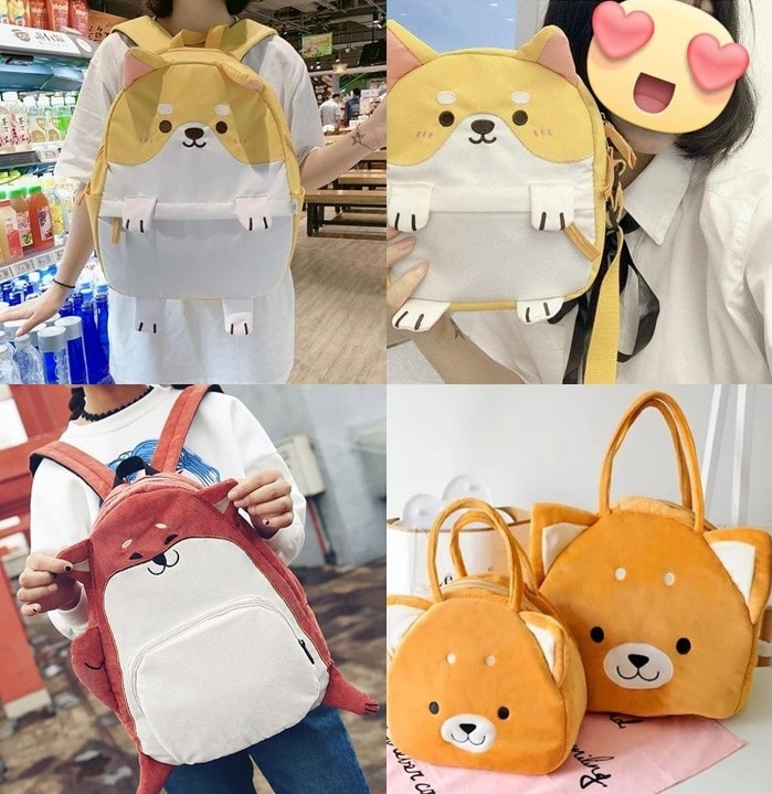 Image of a collage of four shiba inu themed bags, including messenger bags, backpacks and handbags