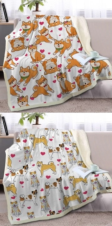 Image of two warm blankets on a sofa featuring the cute infinite Shiba Inus with hearts designs