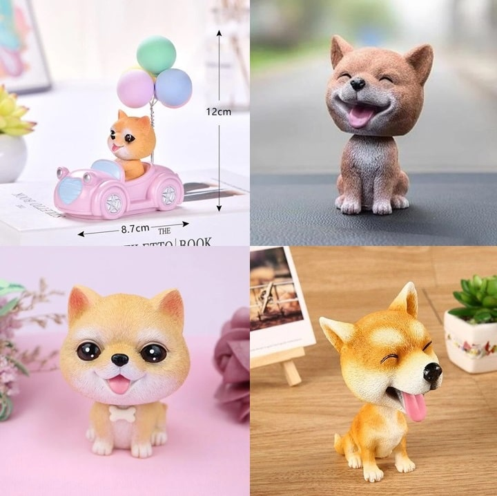 Image of four super cute Shiba Inu bobbleheads in different designs