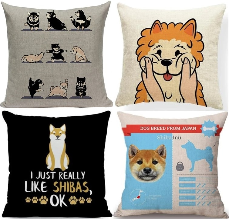Image of collage of four super cute Shiba Inu themed cushion covers for Shiba Inu lovers