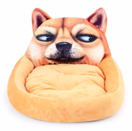 Image of an orange pet bed with a suspicious looking Shiba Inu dog design