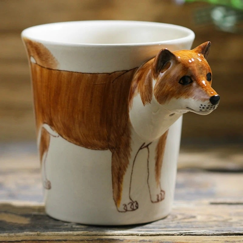 Image of a 3D ceramic cup in the shape of a Shiba Inu