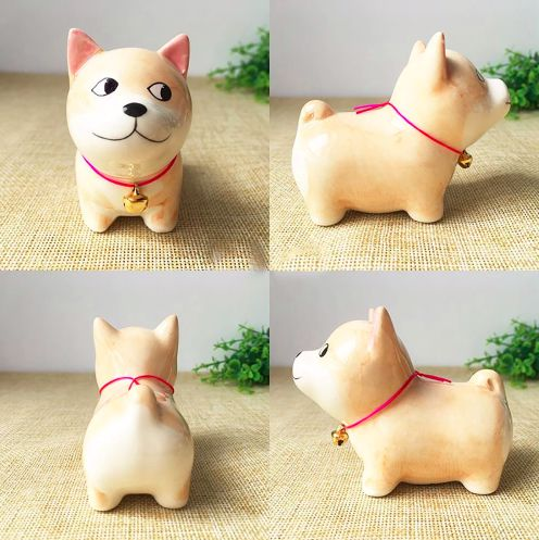 A series of images of a ceramic ornament in the shape of a Shiba Inu from different angles