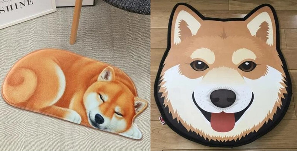 Image of two floor rugs in the shape of Shiba Inu, one is sleeping Shiba Inu floor rug and the other is the Shiba Inu face floor rug
