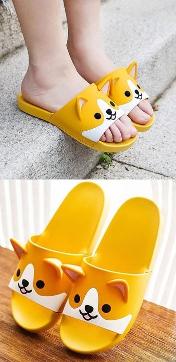 Two images of slippers one below the other featuring the cutest smiling Shiba Inu face