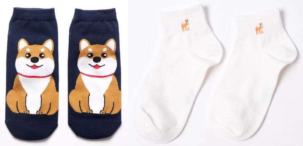 Image of two pair of ankle length socks with a cute Shiba Inu dog print
