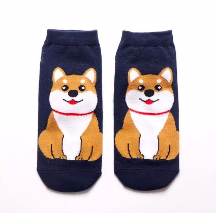 Image of two dark blue ankle length socks with a cute sitting orange Shiba Inu design