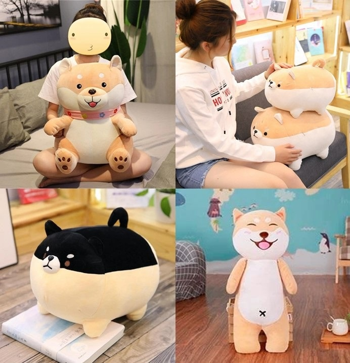 Image of a collage of four super cute Shiba Inu stuffed animal soft plush toy pillows of different sizes