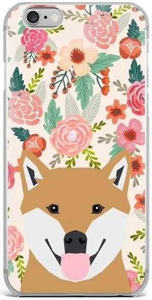 Image of a Shiba Inu in bloom iPhone case with a floral background, made of TPU Soft silicone