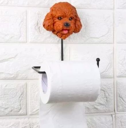 Image of a toilet roll holder on the wall with a cute Toy Poodle or Cockapoo design