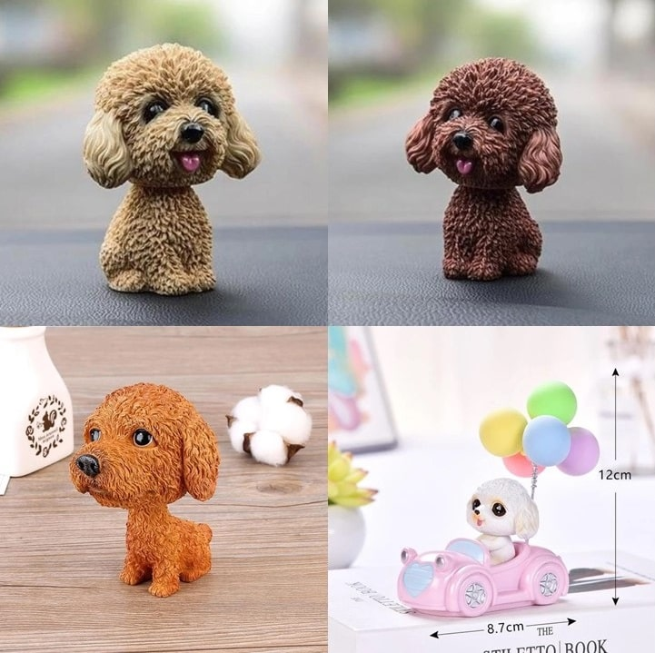 Image of four super cute Toy Poodle / Cockapoo / Labradoodle bobbleheads in different designs
